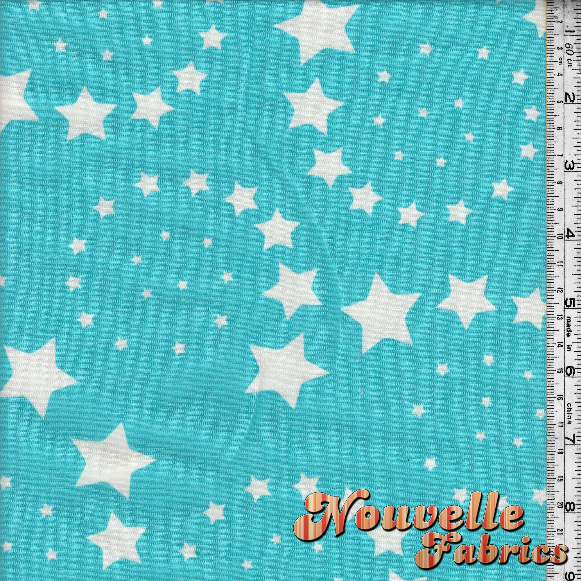 Cotton Lycra Stars Aqua