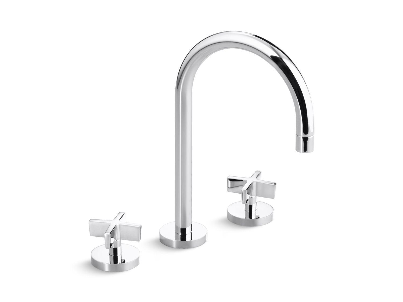 Sink Faucet, Gooseneck Spout, Cross Handles | Bidet faucets, Faucet ...