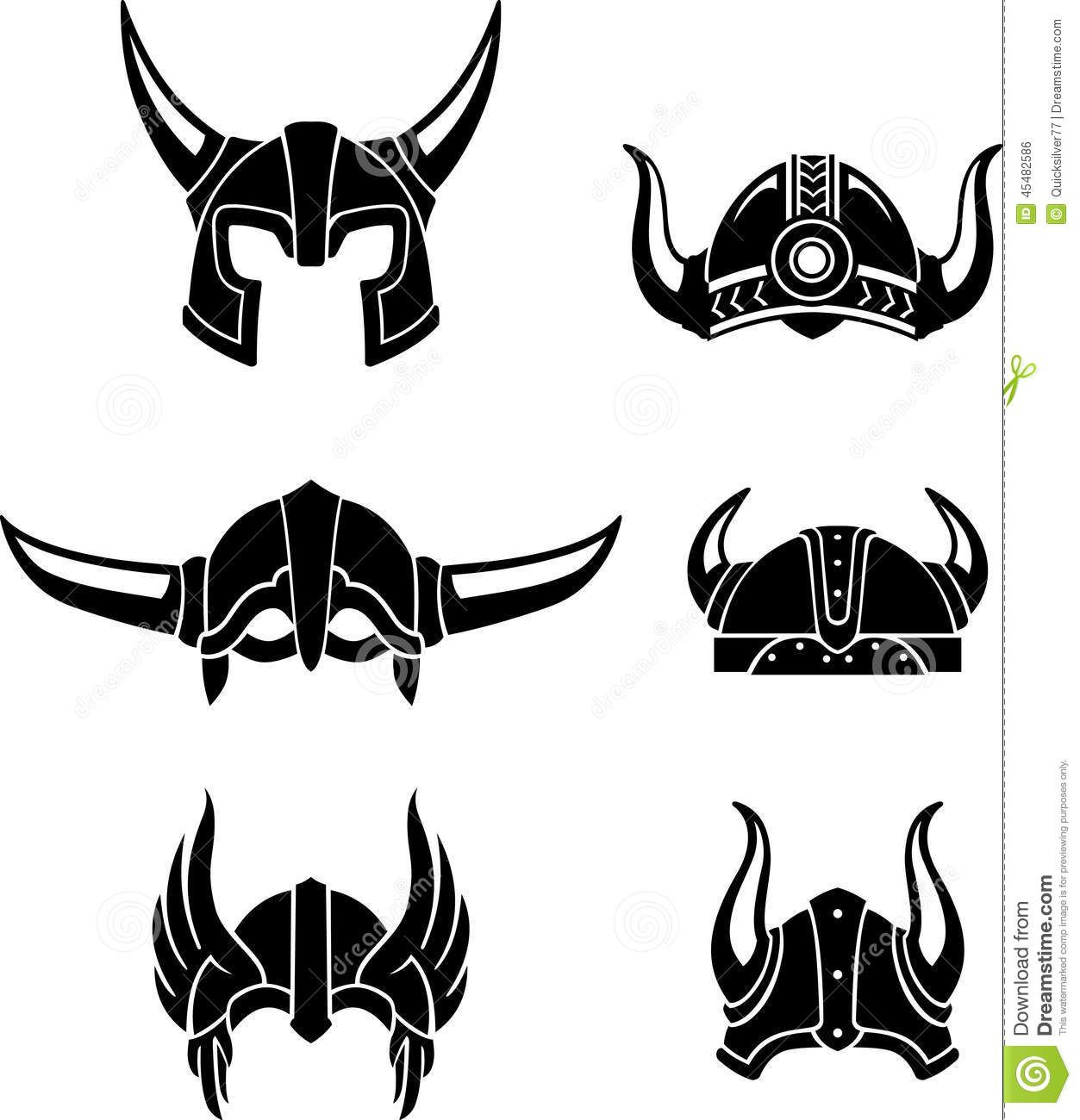 Viking Helmet Set Stock Illustration