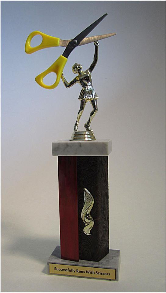 Repurposed Trophies Successfully Runs With Scissors Hilarious Diy Trophy Old Trophies Funny Trophies