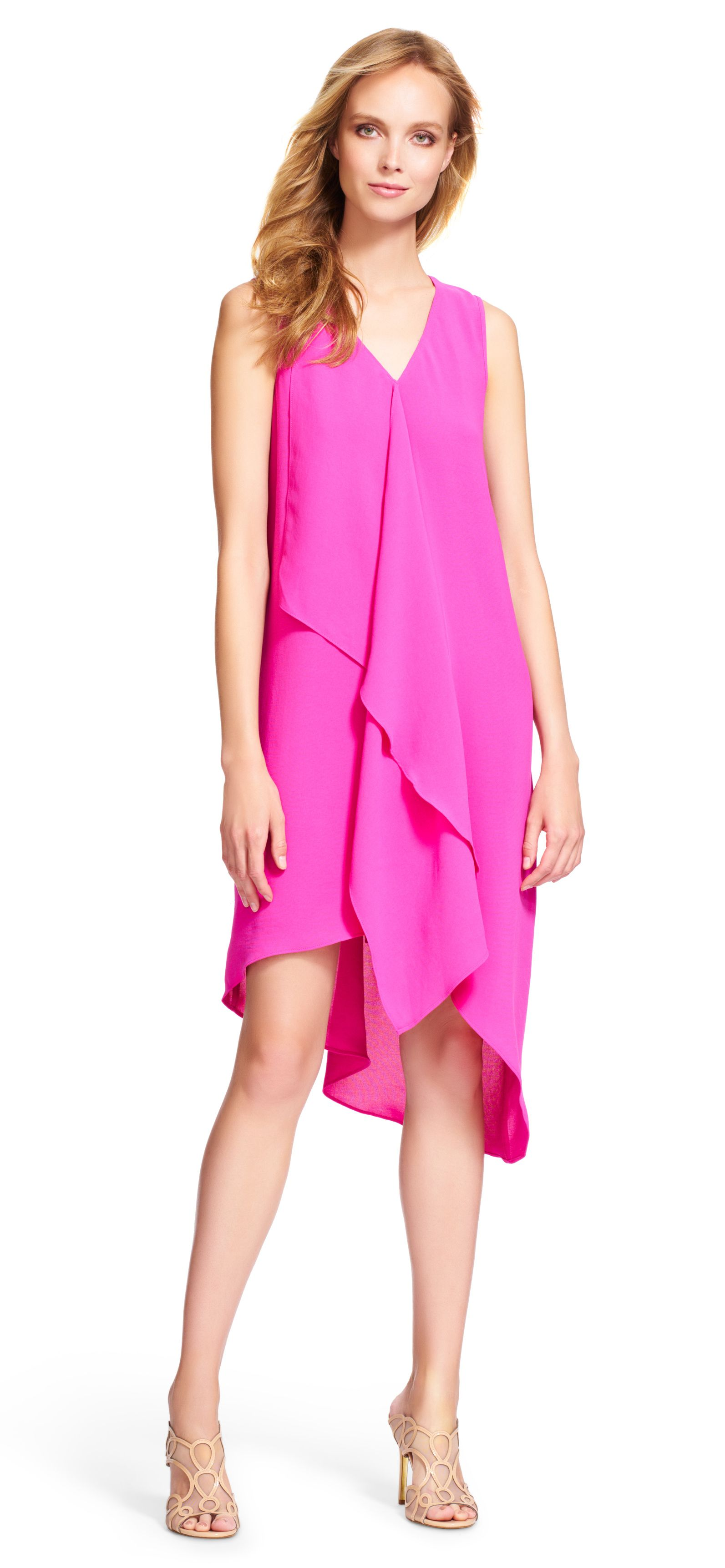 544865832a2f68 Adrianna Papell asymmetrical ruffle front dress | Ruffles lend a feminine  touch to this stylish asymmetrical V-neck cocktail dress, perfect for your  next ...