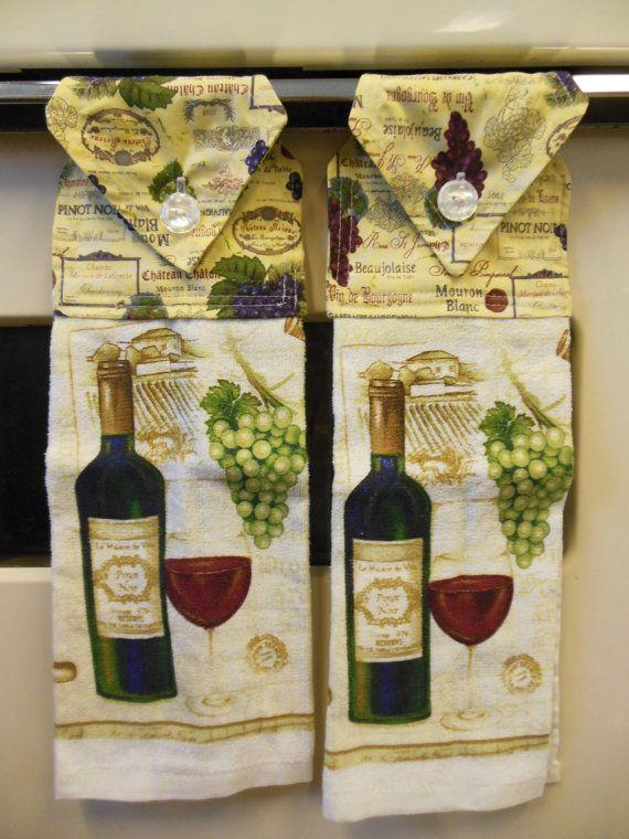 Wine theme kitchen hanging hand towel by lmcsweetdream on - Kitchen decor theme ideas ...