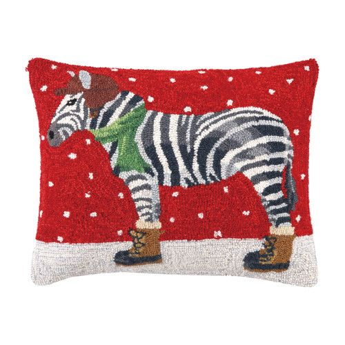 Versailles Winter Zebra Hook Wool Throw Pillow Zebra Pillows Wool Throw Pillows Christmas Pillow