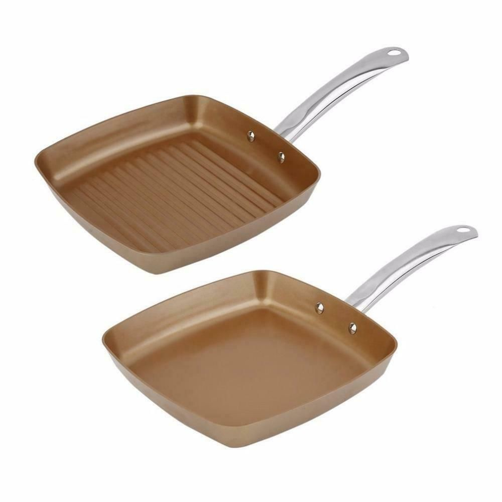 Copper Coating Bottom Frying Pans Non Stick Square Grill Pan Multi