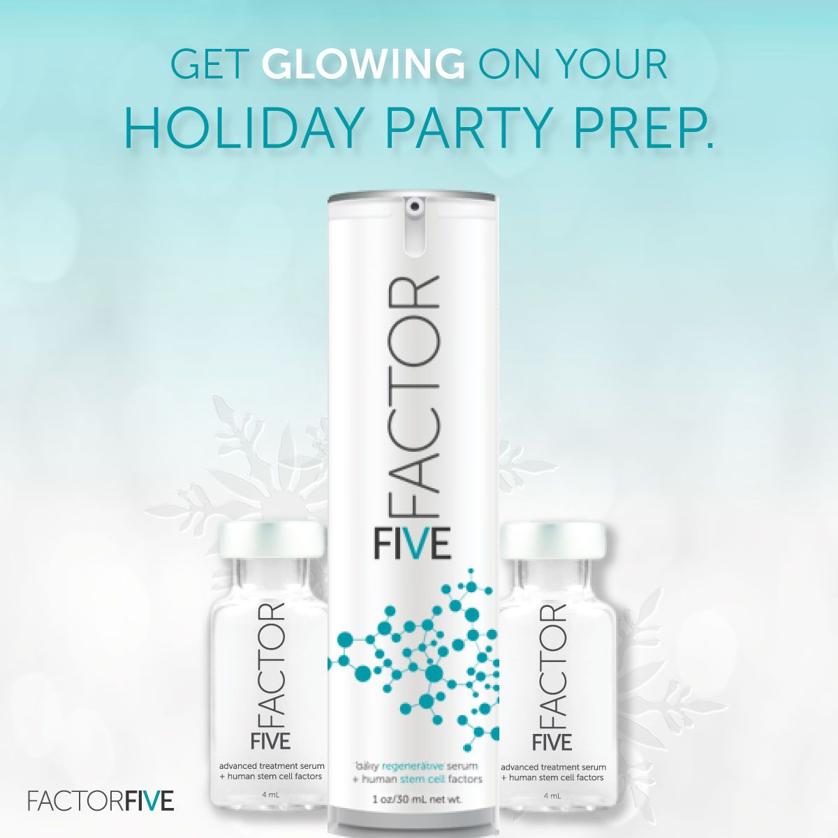 The Secret For Party Ready Glowing Skin Factorfive And Its Restorative Human Stem Cell Growth Factors Stem Cells Cell Skin Care