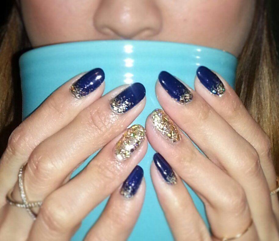 navy blue and gold nails - google
