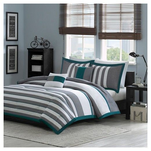 Andre Striped Colorblock Comforter Set - Teal : Target