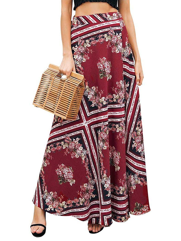 1712559d80ff Women s Boho Floral Print High Waist Split Wap Maxi Long Skirt - Red -  CX18C0AN9MY