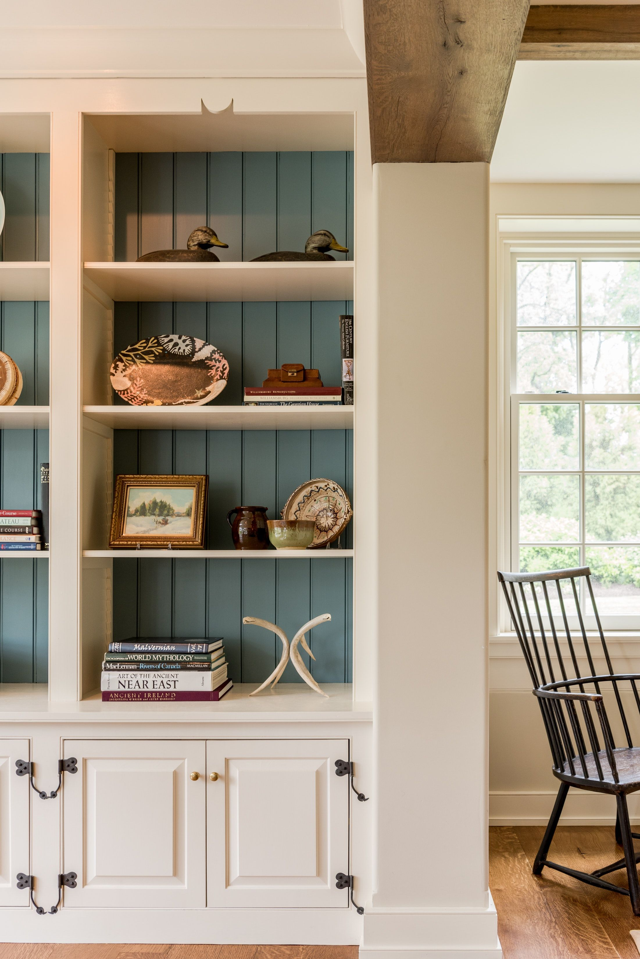 Home Office Built In Bookcase Detail With Rustic Wood Beam In Pennsylvania Color Painted Shiplap In Back Of Built In Shelves Living Room Built In Cabinets Home