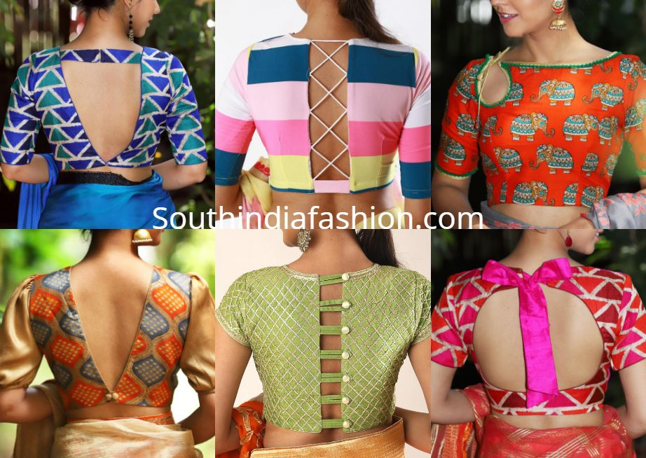 Latest saree blouse neck designs also front and back side bling rh pinterest