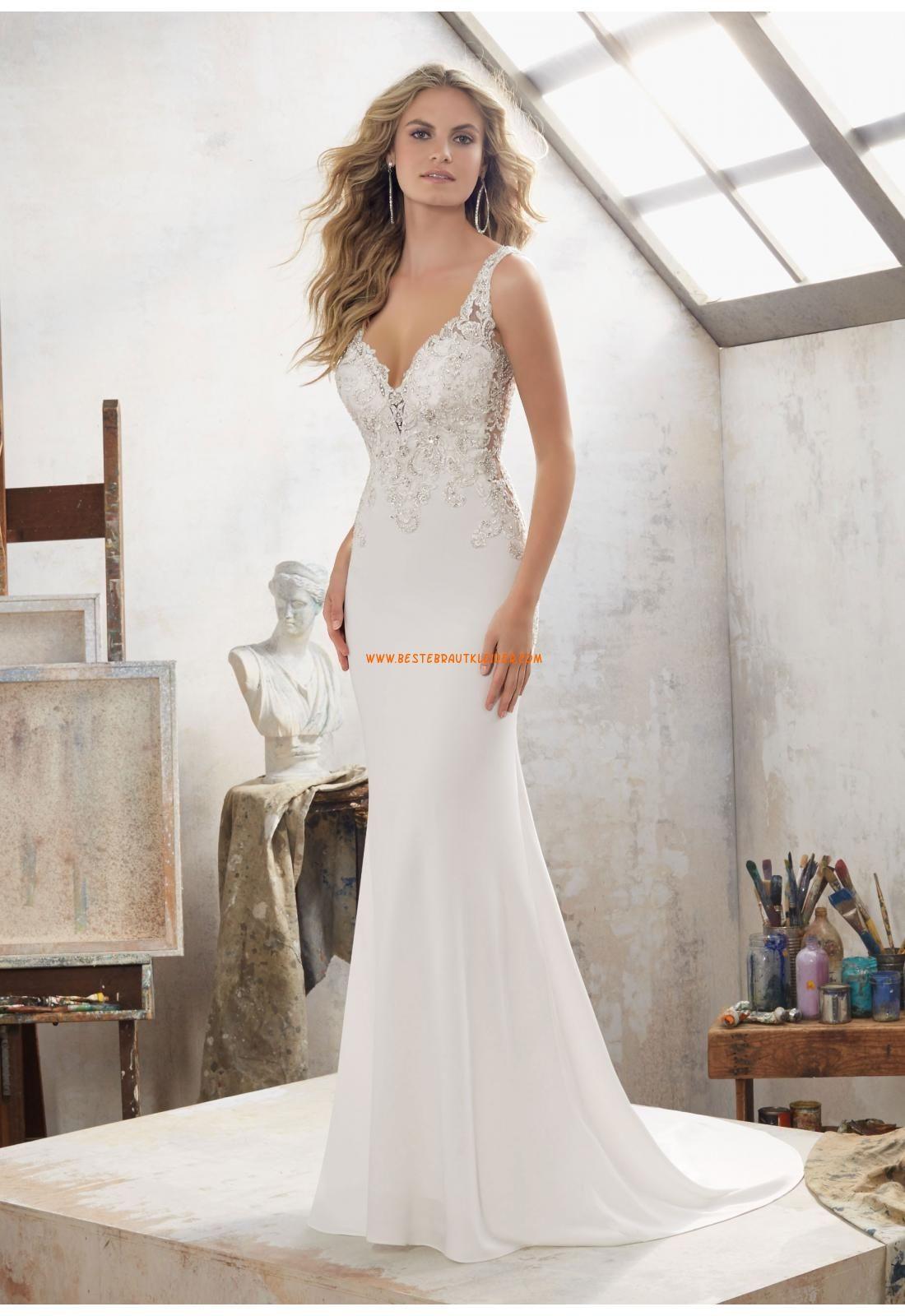 Meerjungfrau V-ausschnitt Rückenfreie Brautkleider aus Chiffon mit ...