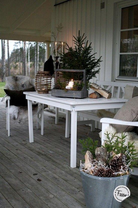 24 Gemütliche Und Schöne Winter Terrasse Deko Ideen #weihnachtsdekobalkon