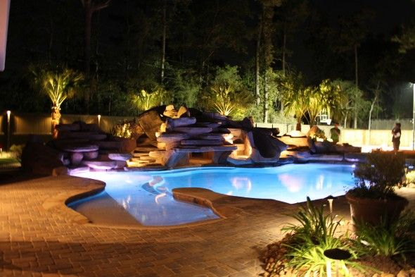 Garden Ideas Around Swimming Pools best landscape lighting ideas around swimming pool amazing