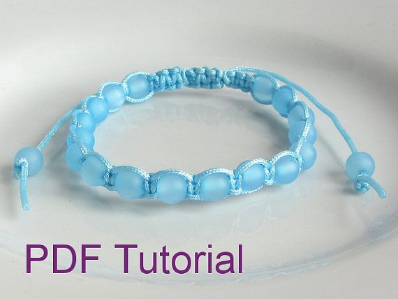 pdf tutorial beaded square knot macrame bracelet pattern