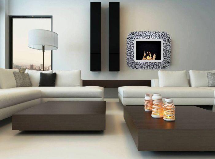 Cheminée Bioéthanol Murale Avec Cadre En Verre #Cheminée