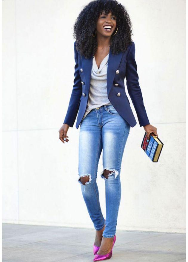 Jeans tacones y blazer look perfecto casual pinterest fashion - Con 2 tacones ...