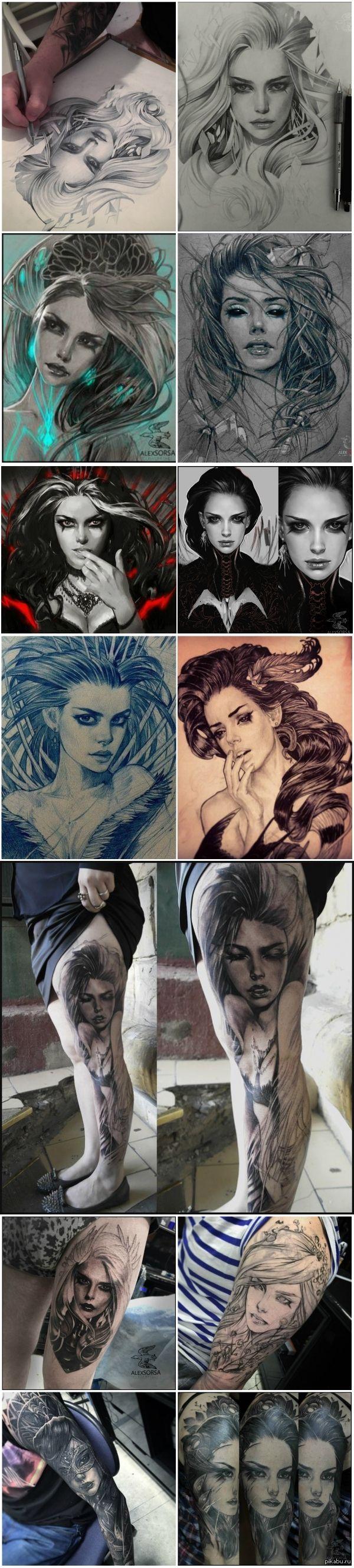 Рисунки работы иллюстратора и тату-мастера Саши Сорсы из Москвы рисунок, тату, красивое, Alex Sorsa, длиннопост