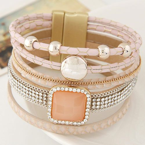 New-Fashion-Multilayer-Rhinestone-Leather-Magnetic-Width-Bangle-Bracelet-Jewelry