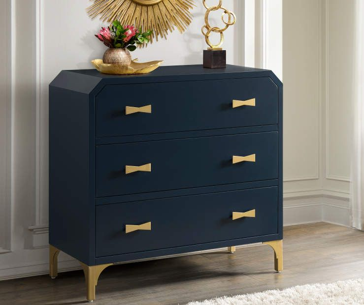 Navy Blue Gold 3 Drawer Accent Chest Blue And Gold Bedroom