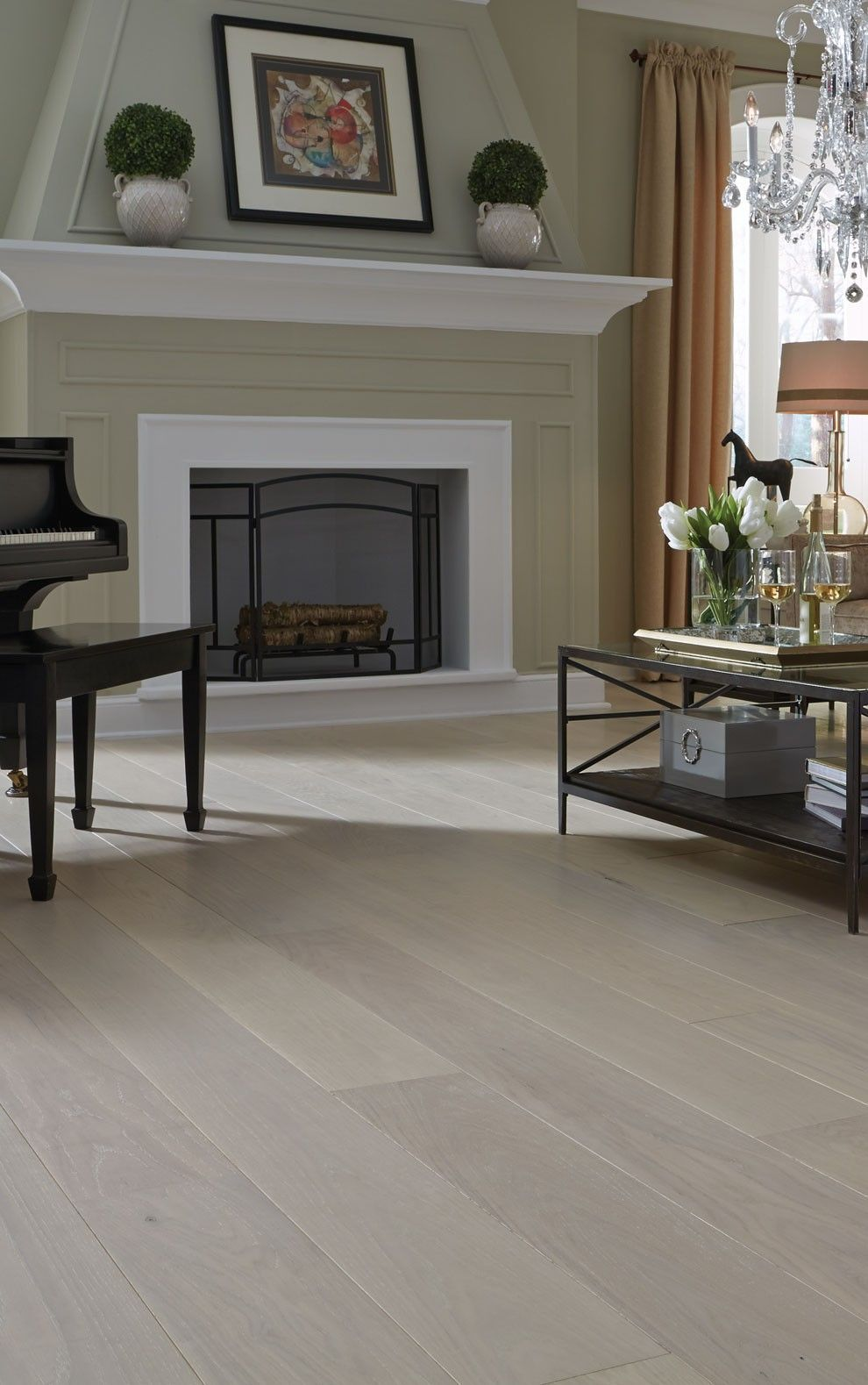 White Oak Living Room with Piano Oak dining room
