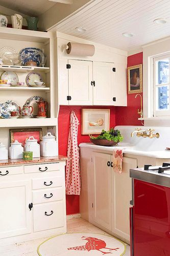 white cottage kitchens. Red And White Cottage Kitchen ~ I Like How These Cabinets Are Staggered Around The Corner Making A Cubby For Aprons, Step Stool. Kitchens R