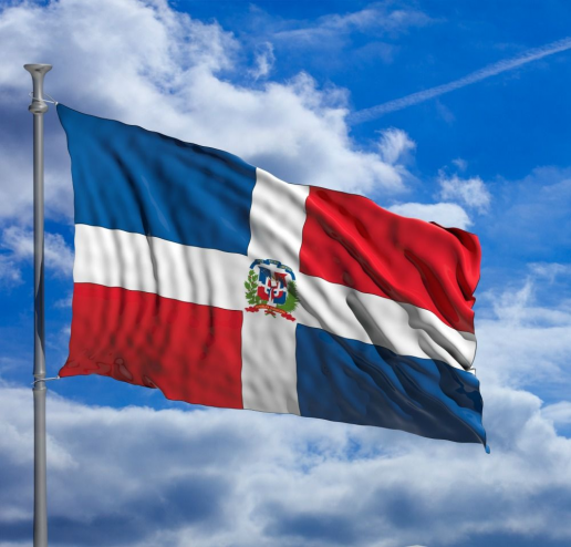 The Dominican Republics Flag Contains Three Colours White Red And Blue These Colours Are Also Seen In The Dominican Republic Flag Republic Flag Dominican Flag