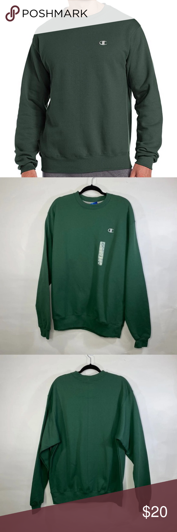 18 M Champion Nwt Eco Fleece Pullover Dark Green L Pullover Pullover Sweatshirts Fleece Pullover [ 1740 x 580 Pixel ]