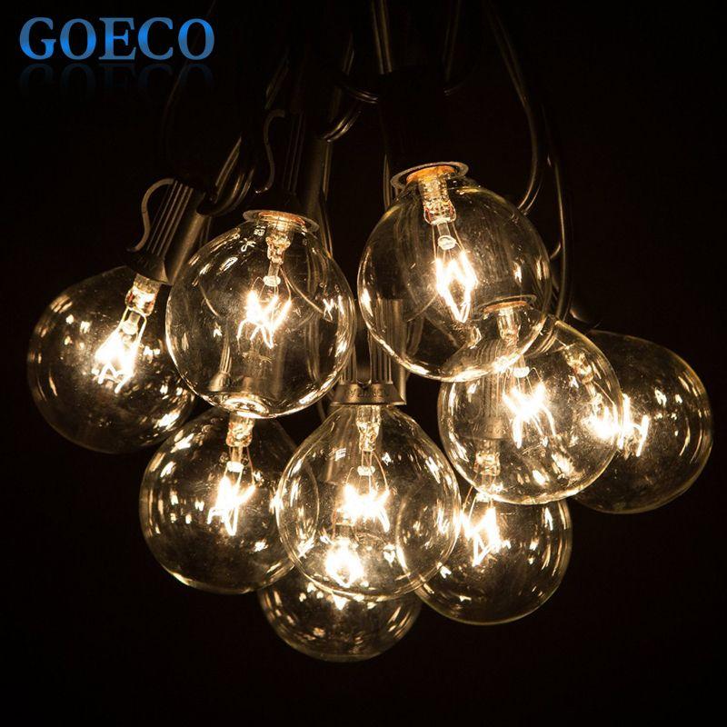 50Ft Globe String Lights G50 50 Clear Globe Bulbs 220/110V Black ...
