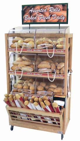 Bread And Pastry Self Serve Display Case Cms Mobile Roll Bagel Bakery Cart Has Six Self Serve Acrylic Bins With Bread Display Bread Shop Bakery