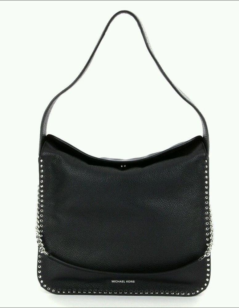 5abdf6779 NWT~ Authentic Michael Kors Studded Astor Large Leather Hobo Handbag ~BLACK  #MichaelKors #ShoulderBag