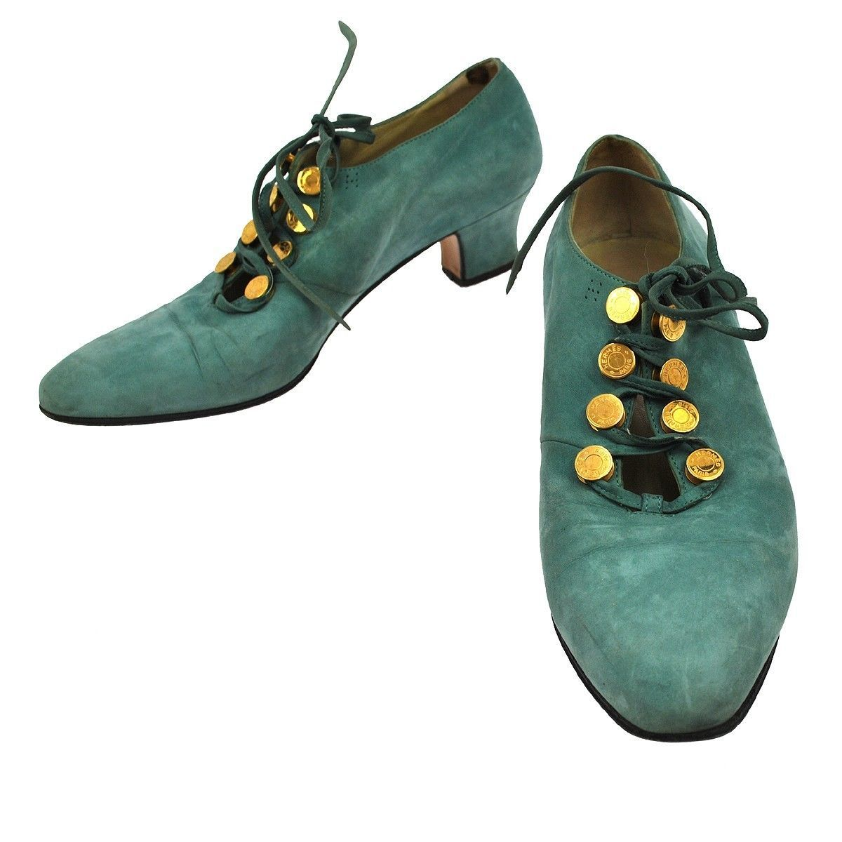 hermes jade suede brogue with gold coin laceup detail. perfection :-)