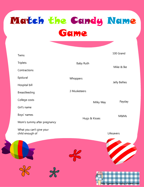Babyshower Games Free Printable Match The Candy Bar Name Game For