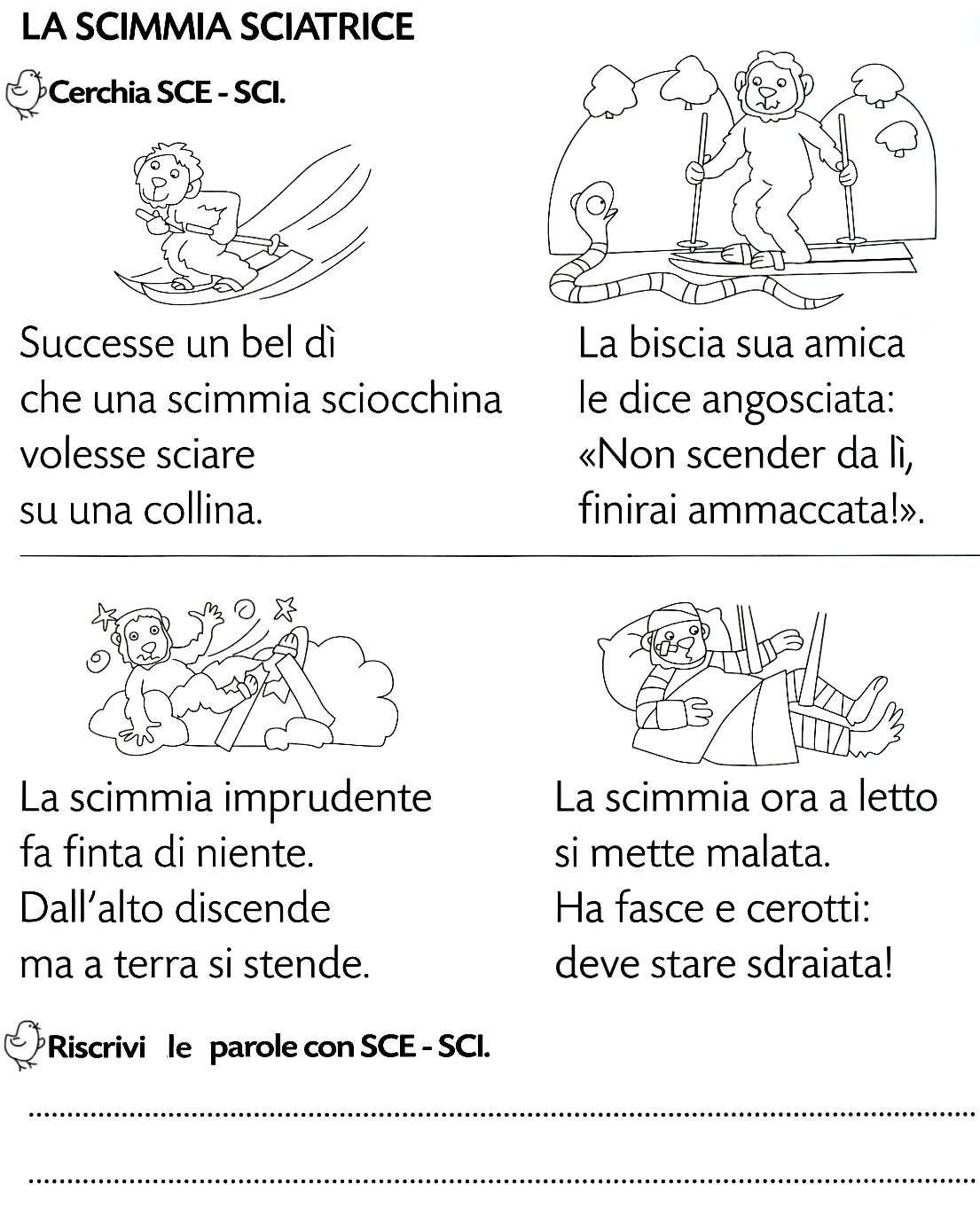 Sci sce didatt italian grammar learning italian e for Dettato con sca sco scu