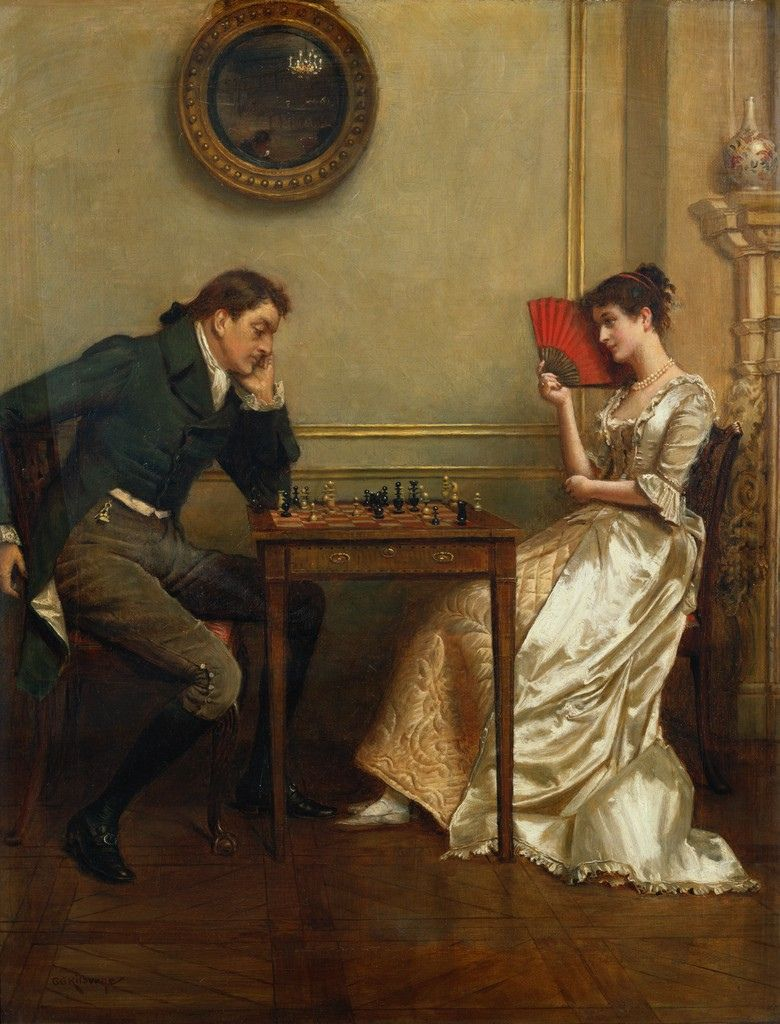 a game of chess by george goodwin kilburne painting of a lady and