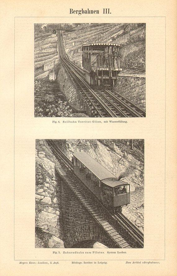 1894 Mountain Railways Vintage Engraving by CabinetOfTreasures