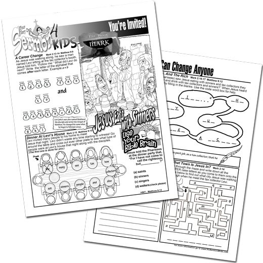 Mark 2 13 17 Jesus Eats With Sinners Activity Puzzle Sheet
