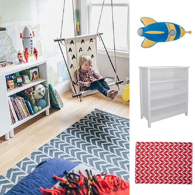 #GettheLook of this #eclectic #kids #room with 1. Kids Caboodle Glacier 4 Tier #Bookcase 2. Kids Napping #Cushion #Rocket #Ship Blue 3. Elemis #Rug #Arrow Red All from @thewarehousenz #thewarehousenzhacks #furniture #NewZealand  #thewarehousenz #interiors #house #home #map #hipster #mixitup