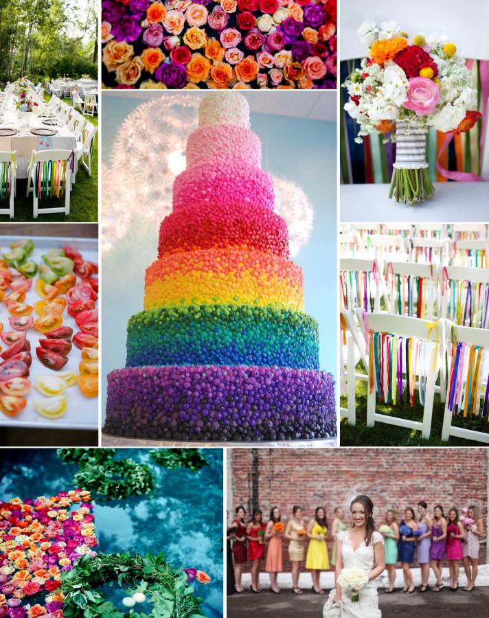 Dream About A Rainbow Wedding Rainbow Bridesmaids Rainbow Wedding Theme Wedding Color Inspiration