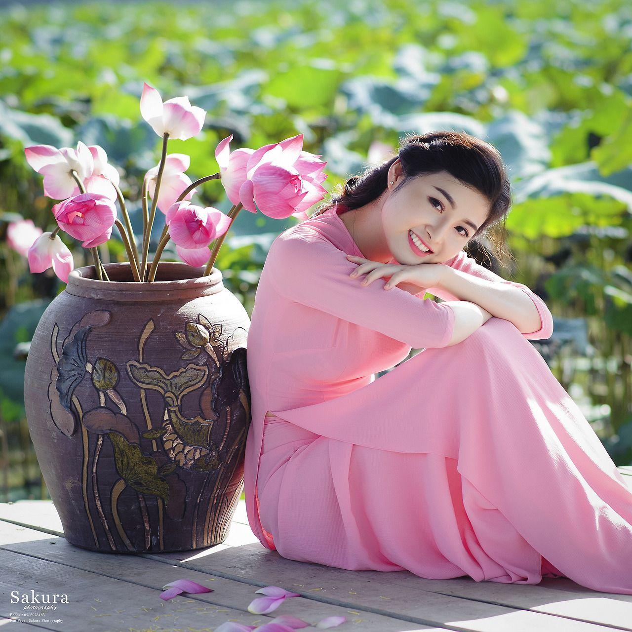 Áo dài xinh   figurative  Pinterest  Ao dai Asian and Pink