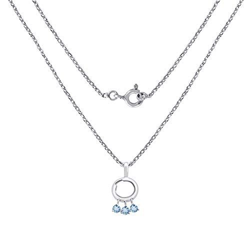 Jewelryonclick Pure Blue Topaz Silver Pendant for Women Unique Style December Birthstone Locket Birthday