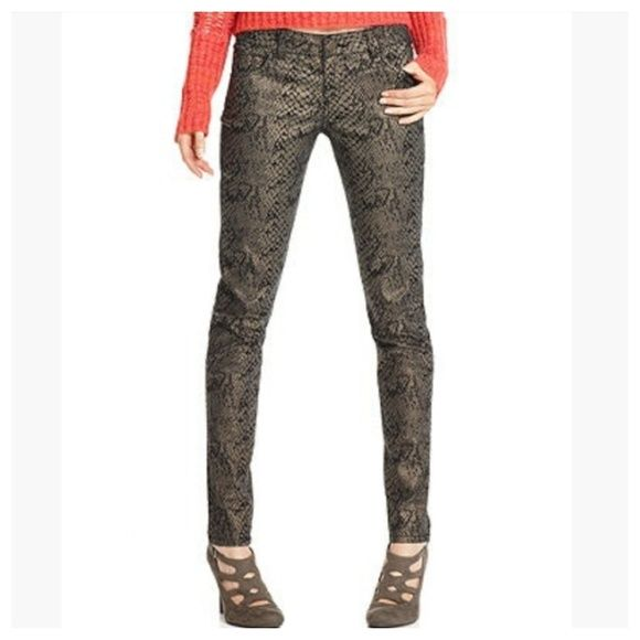 New Wot Celebrity Pink Snakeskin Denim Skinnies New -9876