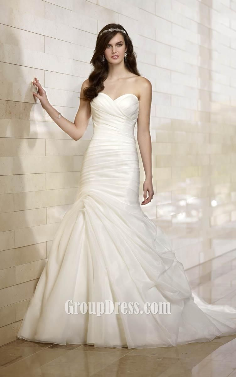 Fit And Flare Sweetheart Strapless Asymmetrical Draped Wedding Dress 770 00 Off 319 00 Love Story Wedding Dresses Dresses Sweetheart Wedding Dress [ 1200 x 752 Pixel ]
