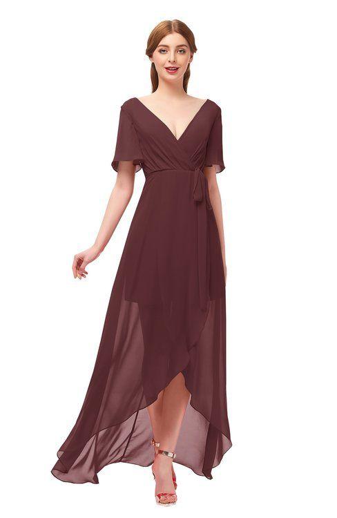 90a8987a0fe ColsBM Taegan Burgundy Bridesmaid Dresses Hi-Lo Ribbon Short Sleeve V-neck  Modern A-line