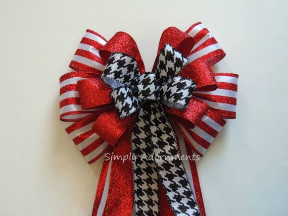 Items Similar To Red Black Christmas Wreath Bow Red Black Tree Bow  Houndstooth Wedding Bow Red And Black Wedding Aisle Bow Red Black Birthday  Party Decor On ...