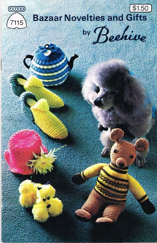 Vintage Knitting Pattern Book Beehive Novelties Gifts Slippers ...