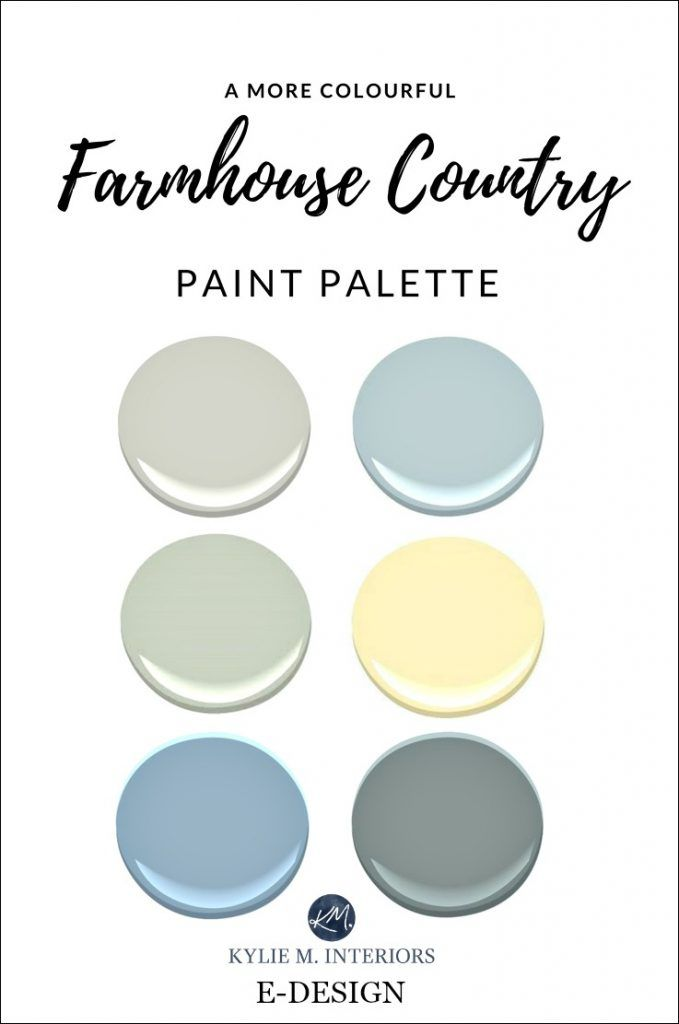 A Farmhouse Country Colourful Paint Palette With Blue Yellow Green And Gray Kylie M E Design
