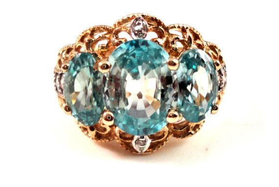 3ct BLUE ZIRCON RING 10k Gold with Diamonds Vintage by TnBCdesigns, $495.00