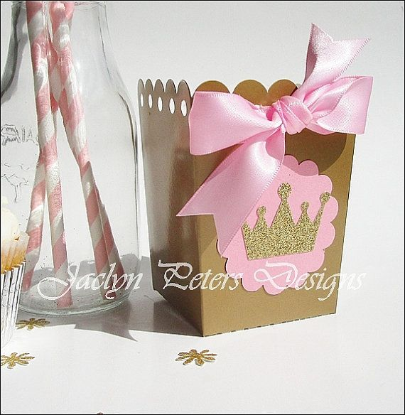princess party popcorn favor box pink and gold glitter crown satin bow
