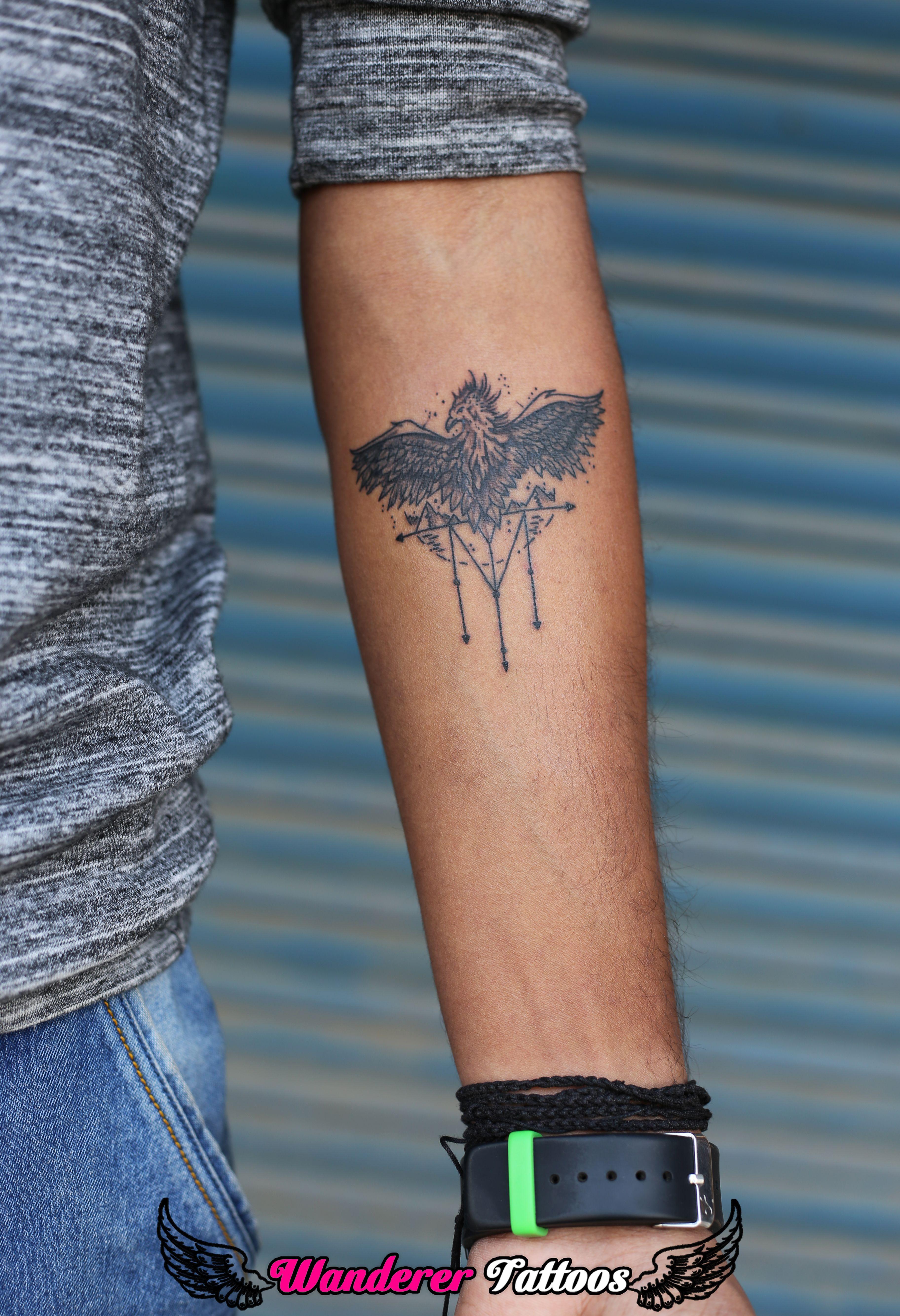 7ec6205211891 Geometric Phoenix by Anmol Jeswani Wanderer Tattoos Near SS Kachoriwala  Opposite Dr. Kaul hospital Naya bazar - Gwalior 7000826391