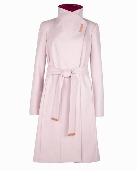 cca92153c Long wool wrap coat - Pale Pink